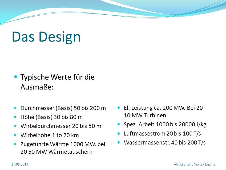 Das Design Typische Werte für die Ausmaße: Durchmesser (Basis) 50 bis 200 m Höhe (Basis) 30 bis 80 m Wirbeldurchmesser 20 bis 50 m Wirbelhöhe 1 to 20 km Zugeführte Wärme 1000 MW.