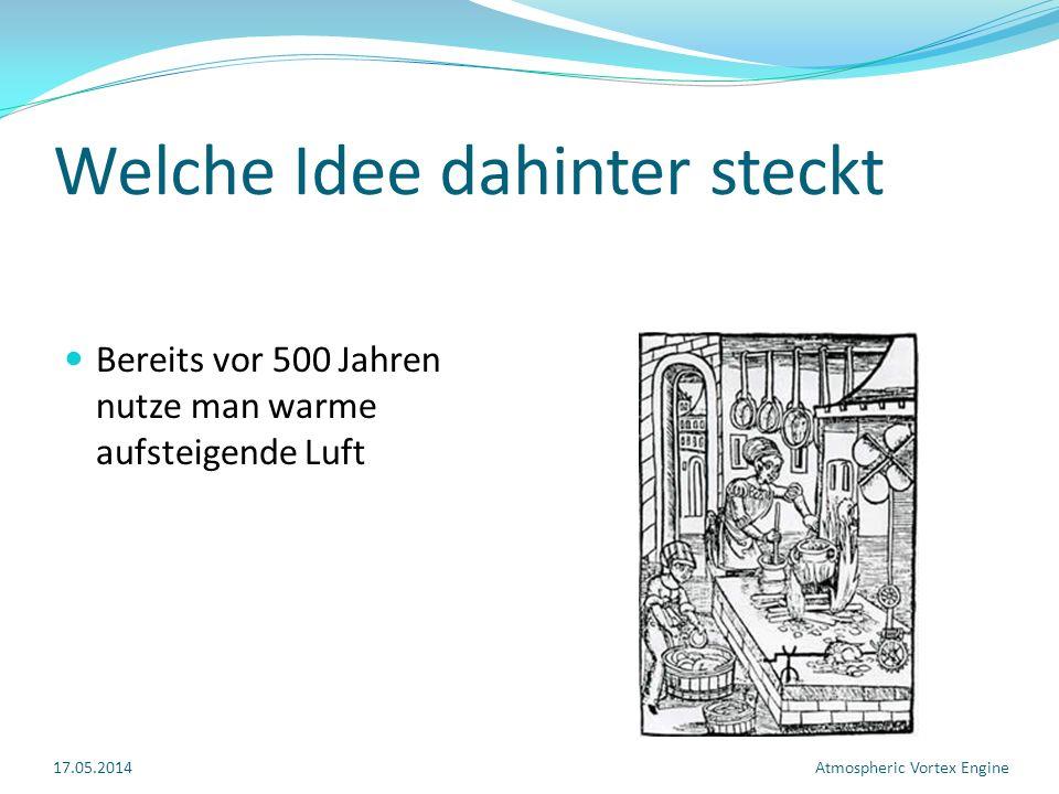 Welche Idee dahinter steckt Bereits vor 500 Jahren nutze man warme aufsteigende Luft 17.05.2014Atmospheric Vortex Engine
