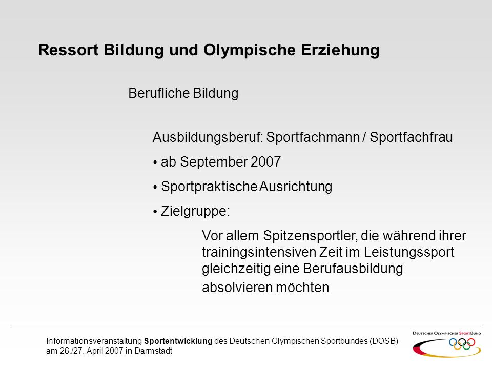 Informationsveranstaltung Sportentwicklung des Deutschen Olympischen Sportbundes (DOSB) am 26./27.