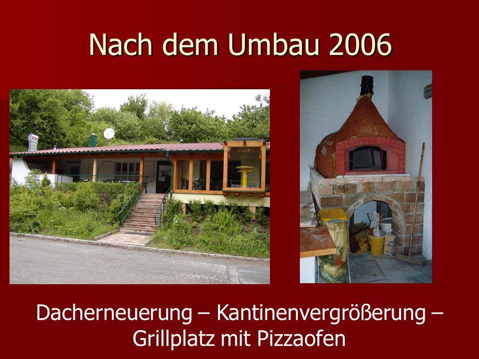 Nach dem Umbau 2006 Dacherneuerung – Kantinenvergrößerung – Grillplatz mit Pizzaofen