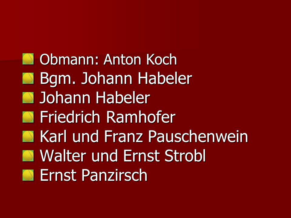 Obmann: Anton Koch Obmann: Anton Koch Bgm.Johann Habeler Bgm.