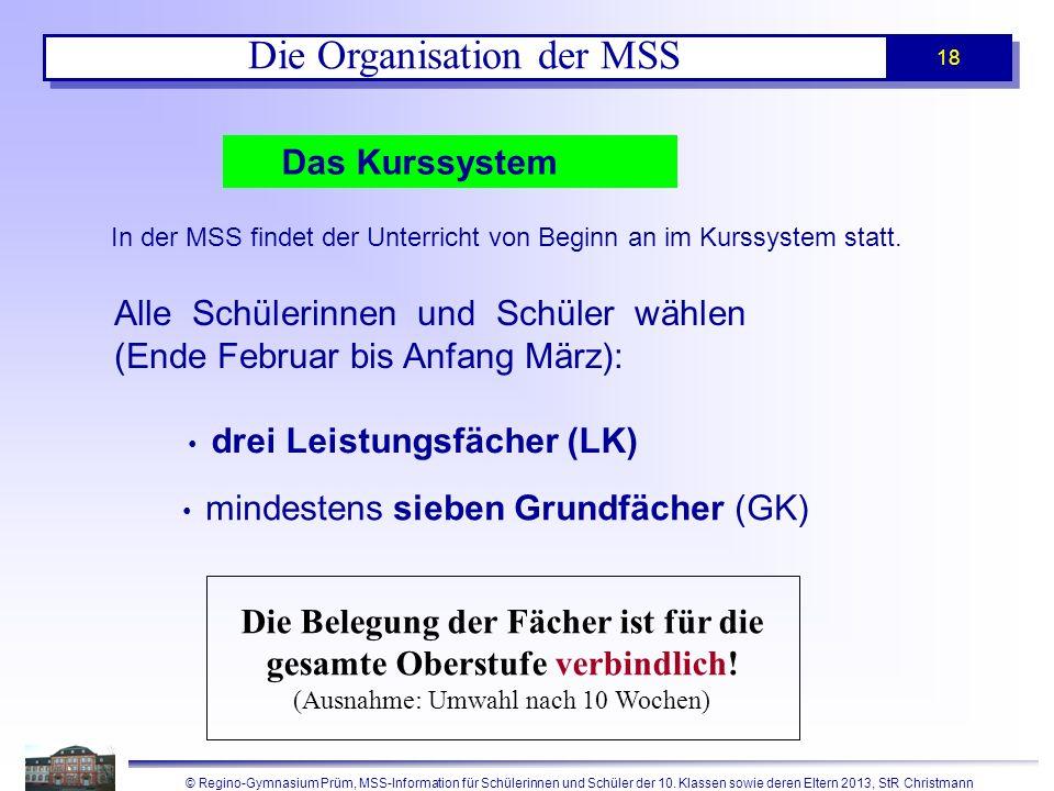 © Regino-Gymnasium Prüm, MSS-Information für Schülerinnen und Schüler der 10. Klassen sowie deren Eltern 2013, StR Christmann 18 Das Kurssystem Alle S