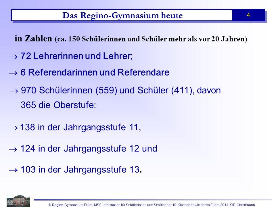 © Regino-Gymnasium Prüm, MSS-Information für Schülerinnen und Schüler der 10. Klassen sowie deren Eltern 2013, StR Christmann 4 in Zahlen (ca. 150 Sch