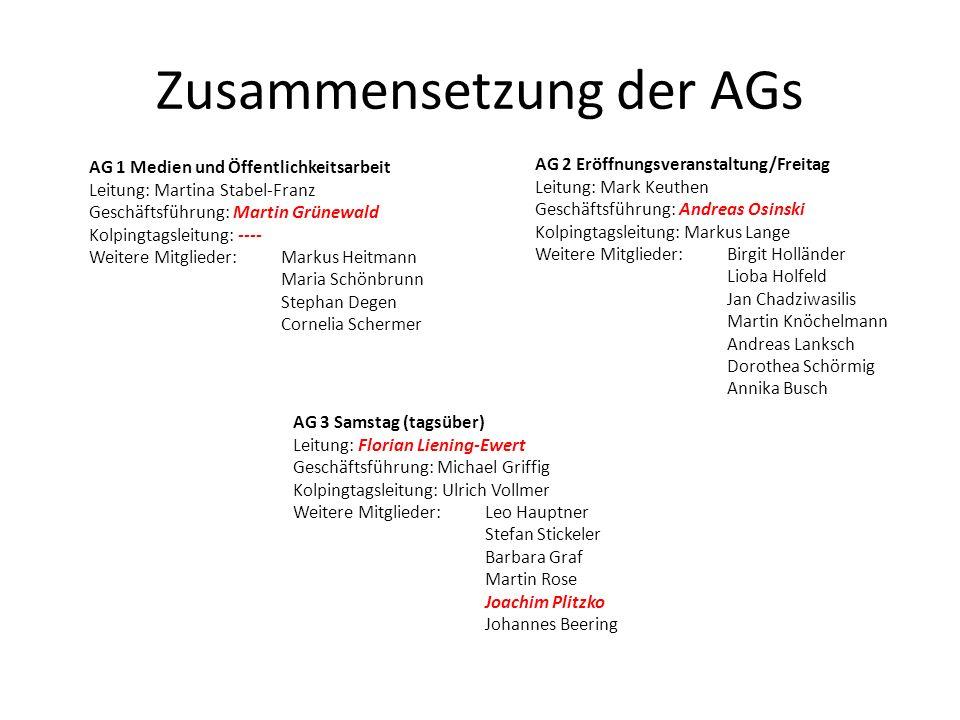 Zusammensetzung der AGs AG 2 Eröffnungsveranstaltung/Freitag Leitung: Mark Keuthen Geschäftsführung: Andreas Osinski Kolpingtagsleitung: Markus Lange