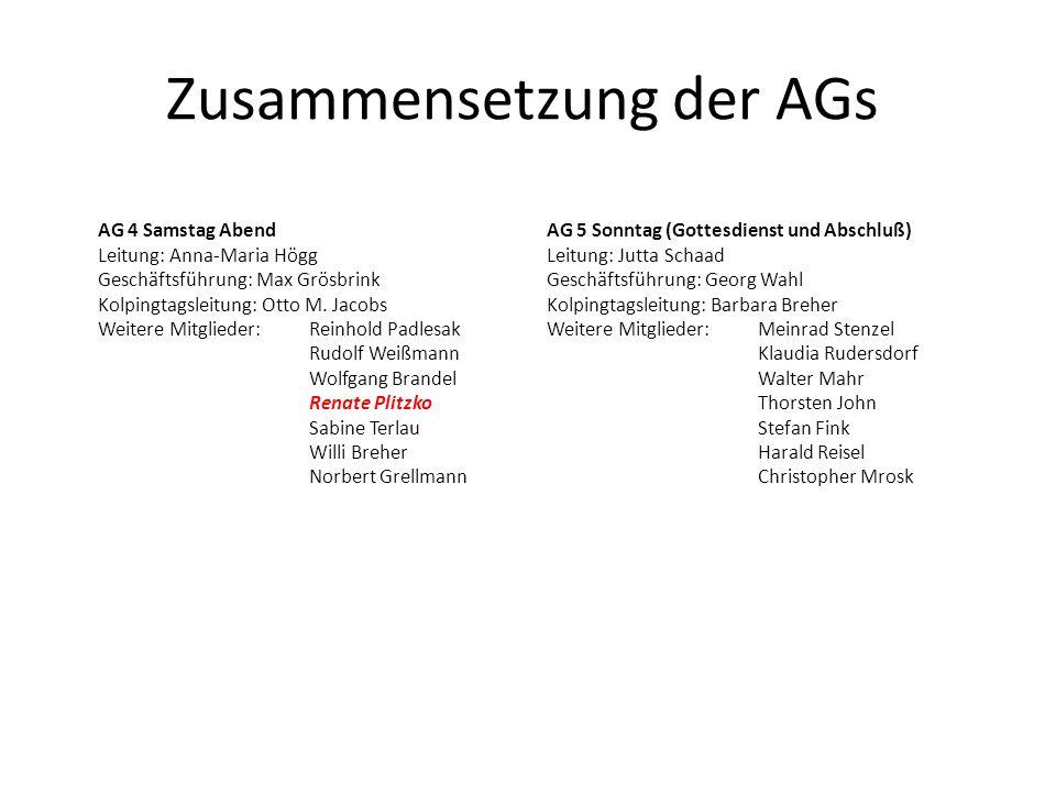 Zusammensetzung der AGs AG 5 Sonntag (Gottesdienst und Abschluß) Leitung: Jutta Schaad Geschäftsführung: Georg Wahl Kolpingtagsleitung: Barbara Breher