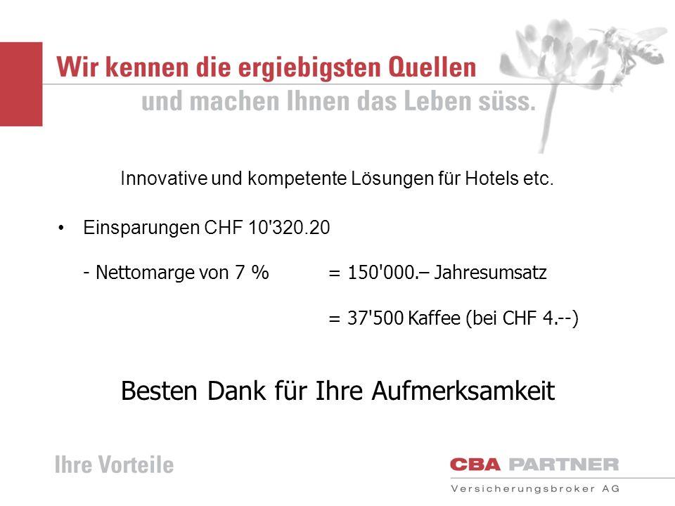 Innovative und kompetente Lösungen für Hotels etc. Einsparungen CHF 10'320.20 - Nettomarge von 7 %= 150'000.– Jahresumsatz = 37'500 Kaffee (bei CHF 4.