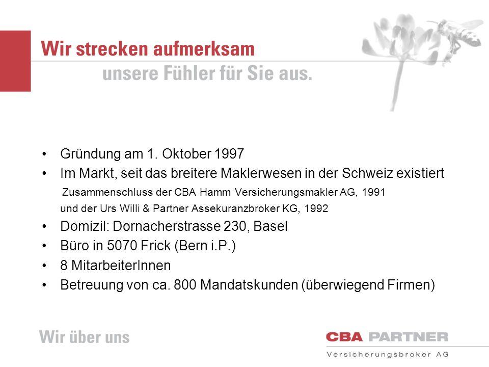 Gründung am 1. Oktober 1997 Im Markt, seit das breitere Maklerwesen in der Schweiz existiert Zusammenschluss der CBA Hamm Versicherungsmakler AG, 1991