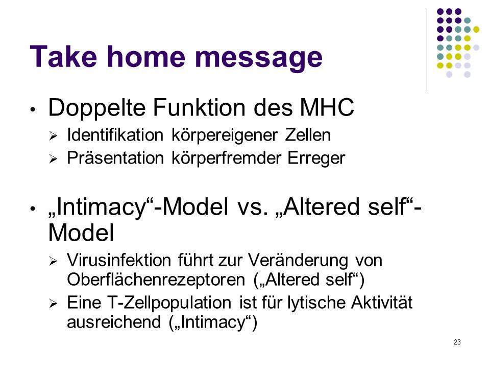 23 Take home message Doppelte Funktion des MHC Identifikation körpereigener Zellen Präsentation körperfremder Erreger Intimacy-Model vs. Altered self-