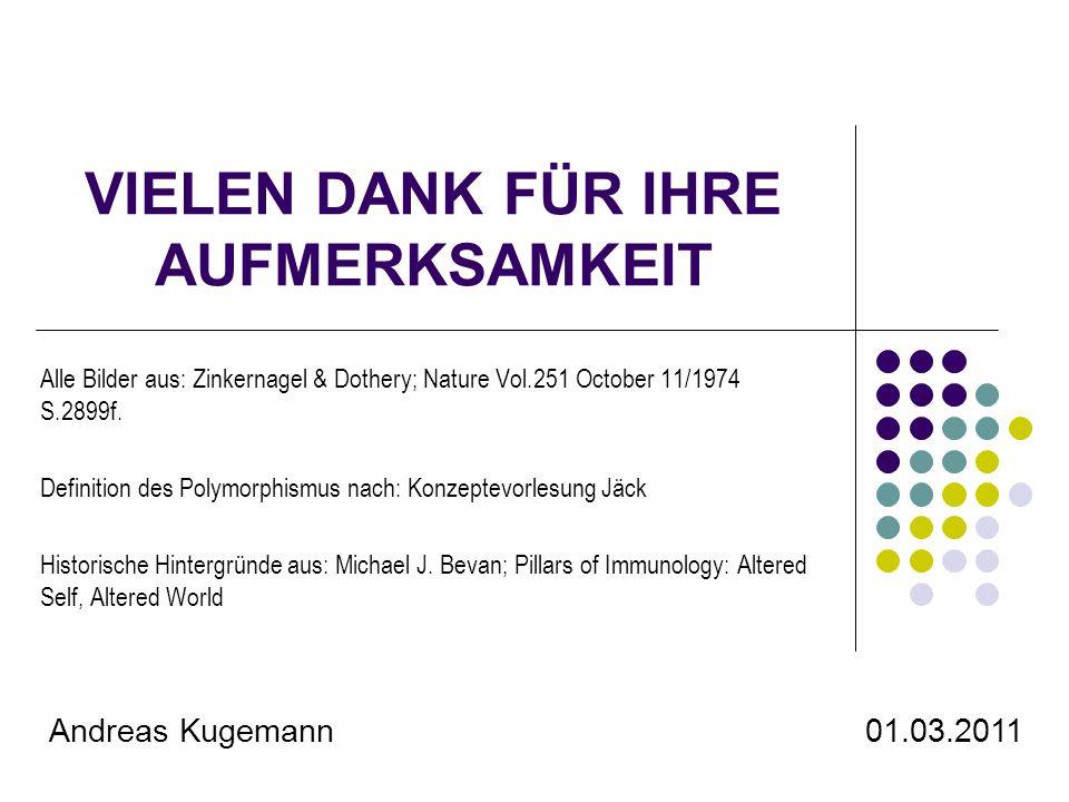 VIELEN DANK FÜR IHRE AUFMERKSAMKEIT Alle Bilder aus: Zinkernagel & Dothery; Nature Vol.251 October 11/1974 S.2899f. Definition des Polymorphismus nach