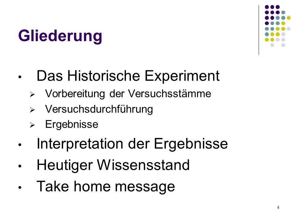 4 Gliederung Das Historische Experiment Vorbereitung der Versuchsstämme Versuchsdurchführung Ergebnisse Interpretation der Ergebnisse Heutiger Wissens