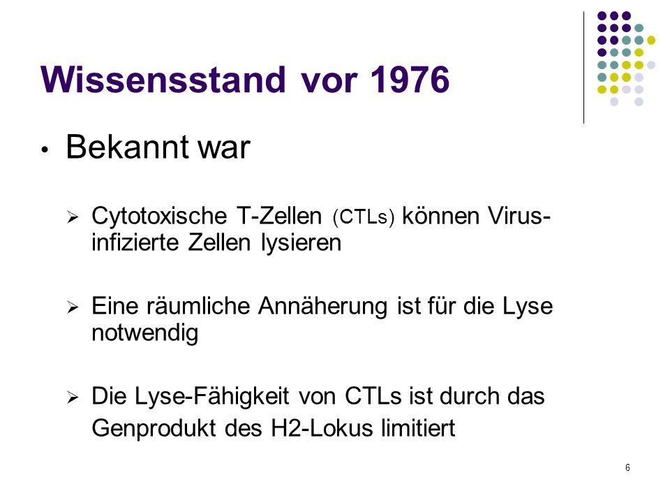 6 Wissensstand vor 1976 Bekannt war Cytotoxische T-Zellen (CTLs) können Virus- infizierte Zellen lysieren Eine räumliche Annäherung ist für die Lyse n