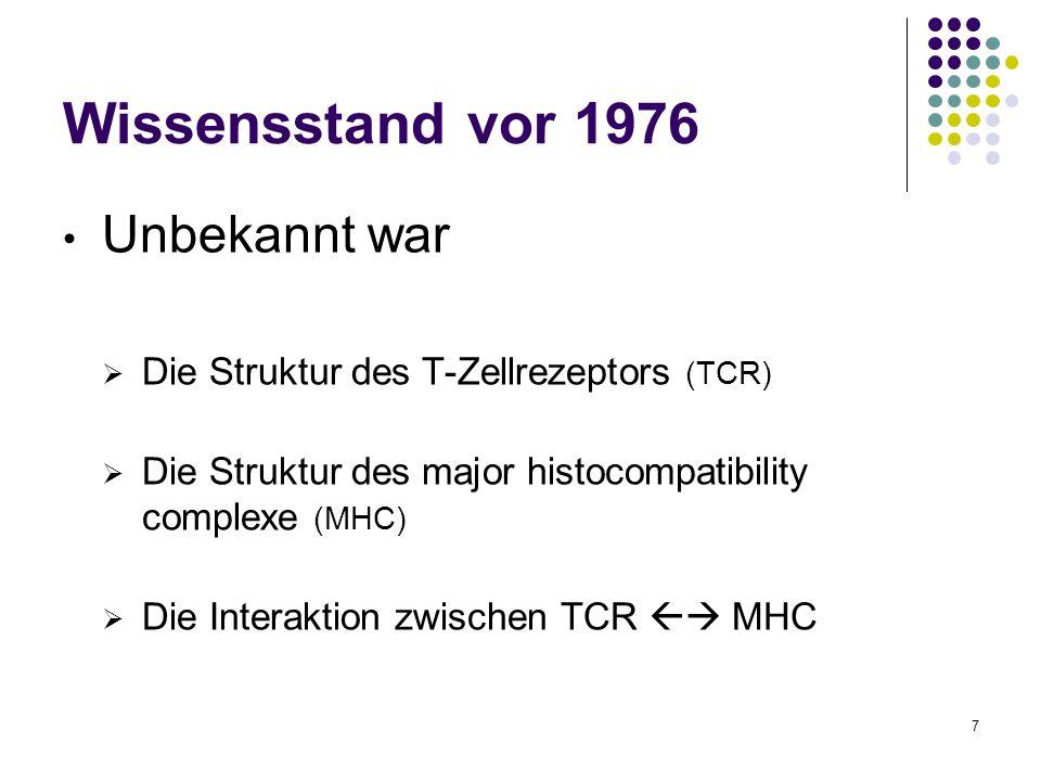 7 Wissensstand vor 1976 Unbekannt war Die Struktur des T-Zellrezeptors (TCR) Die Struktur des major histocompatibility complexe (MHC) Die Interaktion
