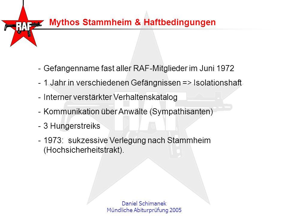 Daniel Schimanek Mündliche Abiturprüfung 2005 Mythos Stammheim & Haftbedingungen -Gefangenname fast aller RAF-Mitglieder im Juni 1972 -1 Jahr in versc