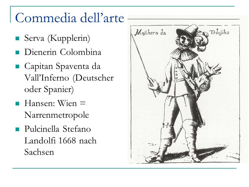 Commedia dellarte Serva (Kupplerin) Dienerin Colombina Capitan Spaventa da VallInferno (Deutscher oder Spanier) Hansen: Wien = Narrenmetropole Pulcine