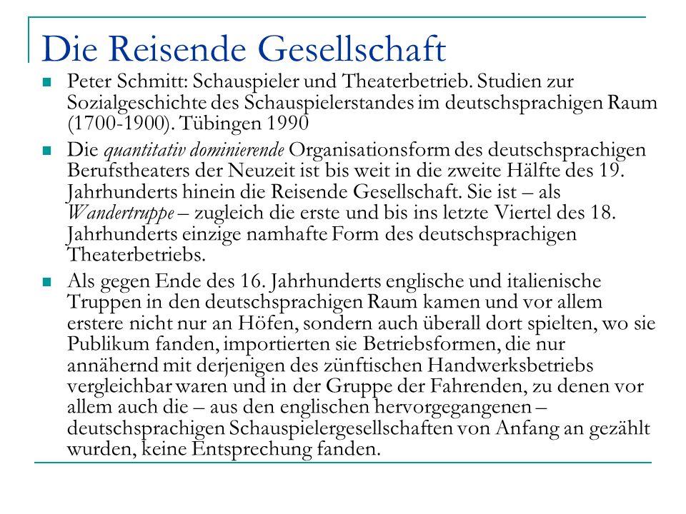 Organisation der Wandertruppen Johann Christian Siebenkees – englische Truppe in Nürnberg 1612: [...] Halsprunner Hoff etliche schöne und zum theill inn Teutschland unbekandte comedien und tragoedien, und darbey eine gute liebliche Musica gehalten.