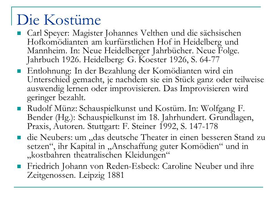 Die Kostüme Carl Speyer: Magister Johannes Velthen und die sächsischen Hofkomödianten am kurfürstlichen Hof in Heidelberg und Mannheim. In: Neue Heide