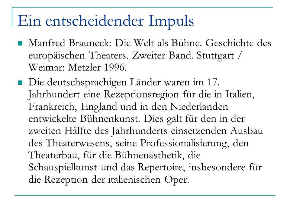 Ein entscheidender Impuls Manfred Brauneck: Die Welt als Bühne. Geschichte des europäischen Theaters. Zweiter Band. Stuttgart / Weimar: Metzler 1996.