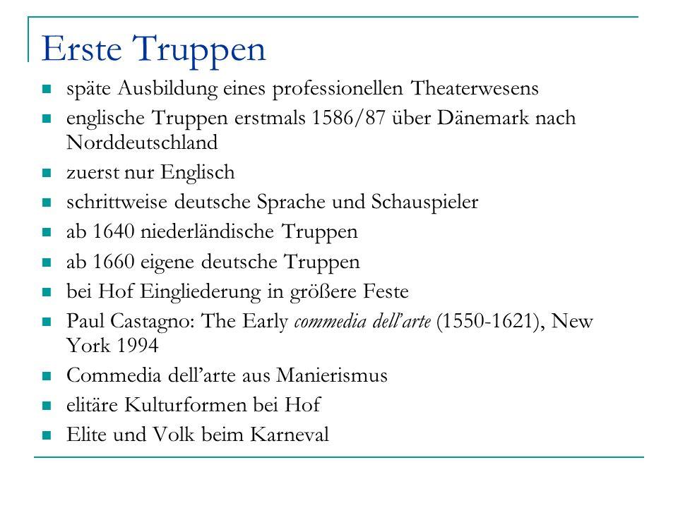 Erste Truppen späte Ausbildung eines professionellen Theaterwesens englische Truppen erstmals 1586/87 über Dänemark nach Norddeutschland zuerst nur En