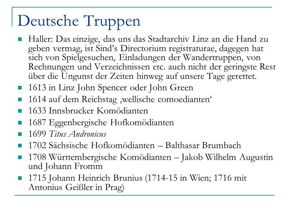 Deutsche Truppen Haller: Das einzige, das uns das Stadtarchiv Linz an die Hand zu geben vermag, ist Sinds Directorium registraturae, dagegen hat sich