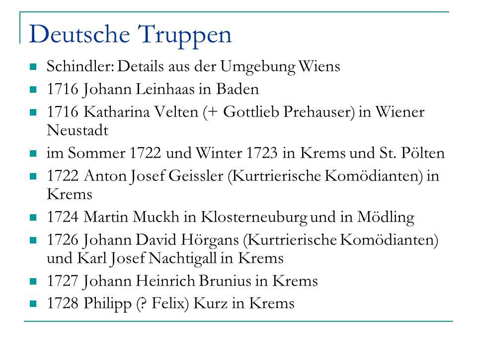Deutsche Truppen Schindler: Details aus der Umgebung Wiens 1716 Johann Leinhaas in Baden 1716 Katharina Velten (+ Gottlieb Prehauser) in Wiener Neusta