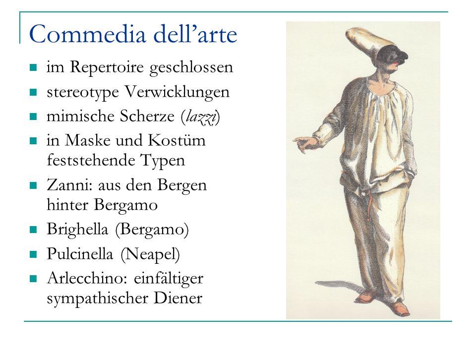 Commedia dellarte im Repertoire geschlossen stereotype Verwicklungen mimische Scherze (lazzi) in Maske und Kostüm feststehende Typen Zanni: aus den Be
