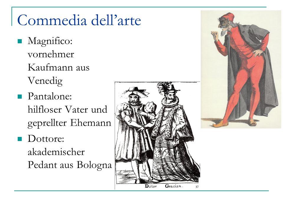 Commedia dellarte Serva (Kupplerin) Dienerin Colombina Capitan Spaventa da VallInferno (Deutscher oder Spanier) Hansen: Wien = Narrenmetropole Pulcinella Stefano Landolfi 1668 nach Sachsen