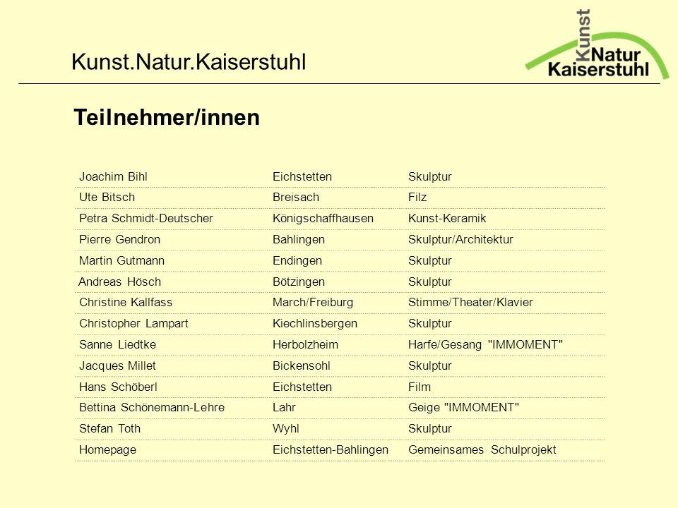 Kunst.Natur.Kaiserstuhl Teilnehmer/innen Joachim Bihl Eichstetten Skulptur Ute Bitsch Breisach Filz Petra Schmidt-Deutscher Königschaffhausen Kunst-Ke