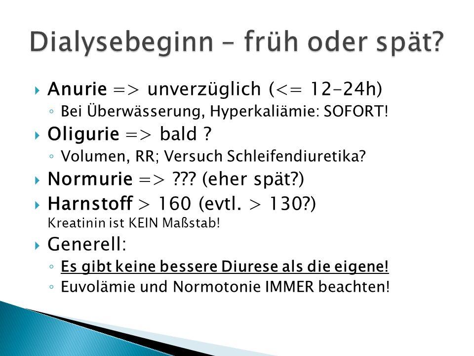 Anurie => unverzüglich (<= 12-24h) Bei Überwässerung, Hyperkaliämie: SOFORT! Oligurie => bald ? Volumen, RR; Versuch Schleifendiuretika? Normurie => ?