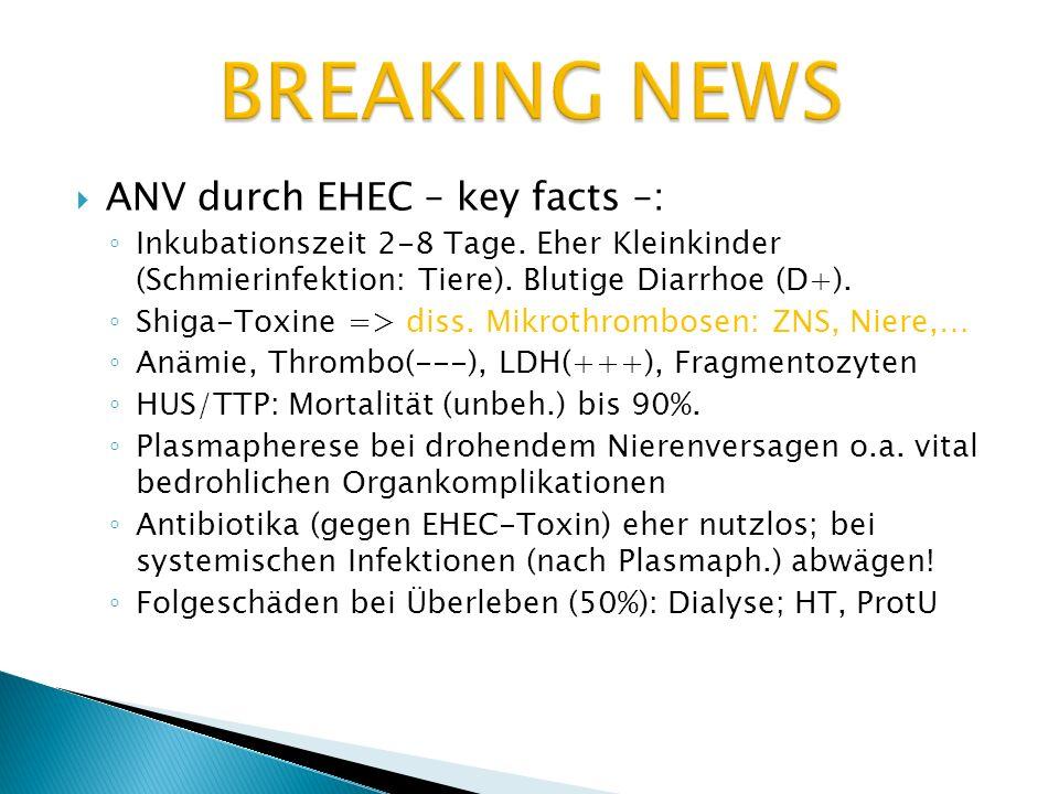 ANV durch EHEC – key facts –: Inkubationszeit 2-8 Tage. Eher Kleinkinder (Schmierinfektion: Tiere). Blutige Diarrhoe (D+). Shiga-Toxine => diss. Mikro