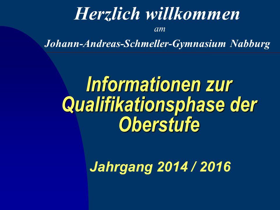 Informationen zur Qualifikationsphase der Oberstufe Jahrgang 2014 / 2016 Johann-Andreas-Schmeller-Gymnasium Nabburg Herzlich willkommen am
