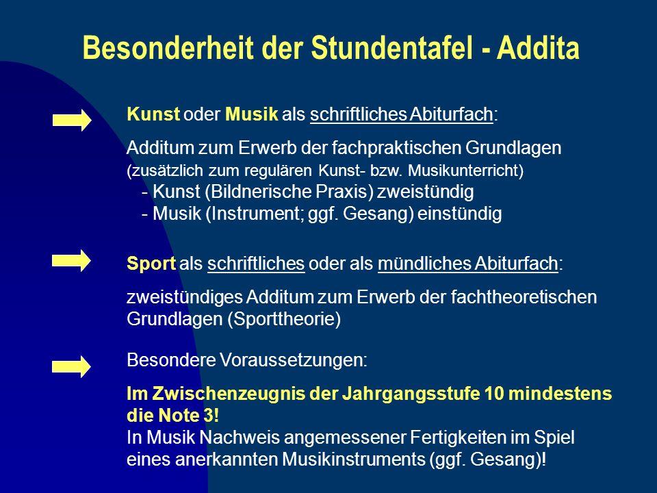 Besonderheit der Stundentafel - Addita Kunst oder Musik als schriftliches Abiturfach: Additum zum Erwerb der fachpraktischen Grundlagen (zusätzlich zu