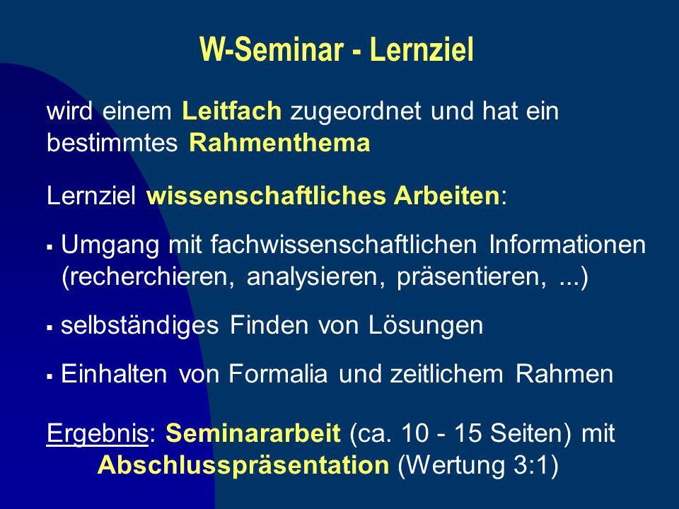 W-Seminar - Lernziel Lernziel wissenschaftliches Arbeiten: Umgang mit fachwissenschaftlichen Informationen (recherchieren, analysieren, präsentieren,.