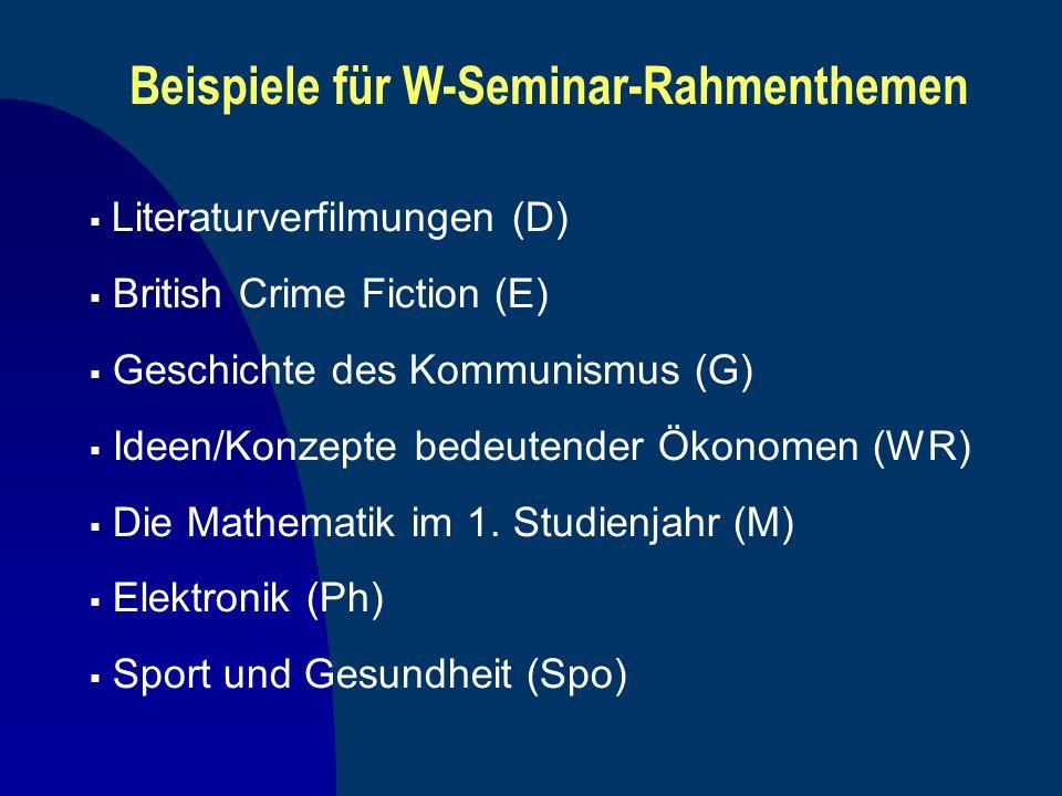 Beispiele für W-Seminar-Rahmenthemen Literaturverfilmungen (D) British Crime Fiction (E) Geschichte des Kommunismus (G) Ideen/Konzepte bedeutender Öko