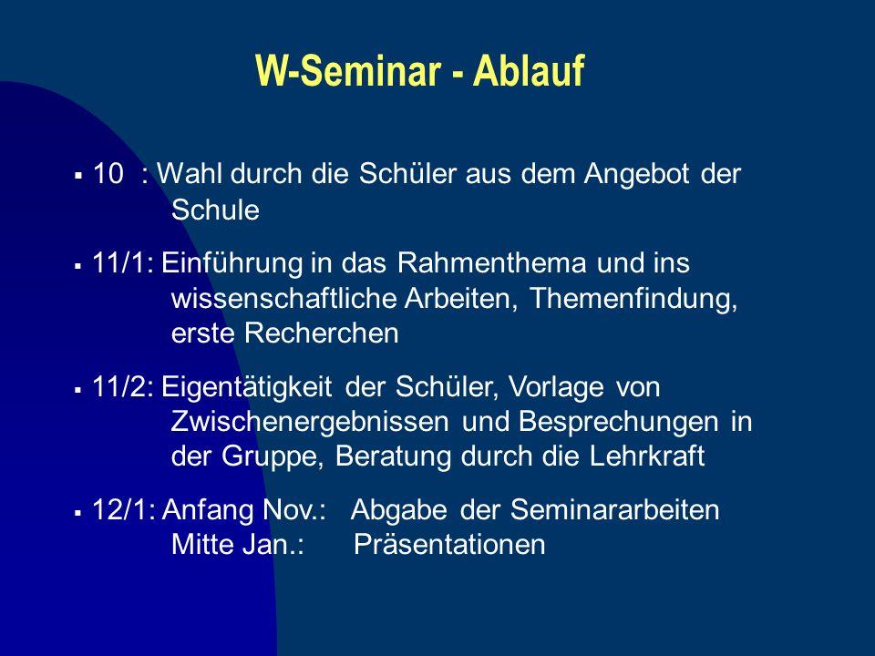 W-Seminar - Ablauf 10 : Wahl durch die Schüler aus dem Angebot der Schule 11/1: Einführung in das Rahmenthema und ins wissenschaftliche Arbeiten, Them