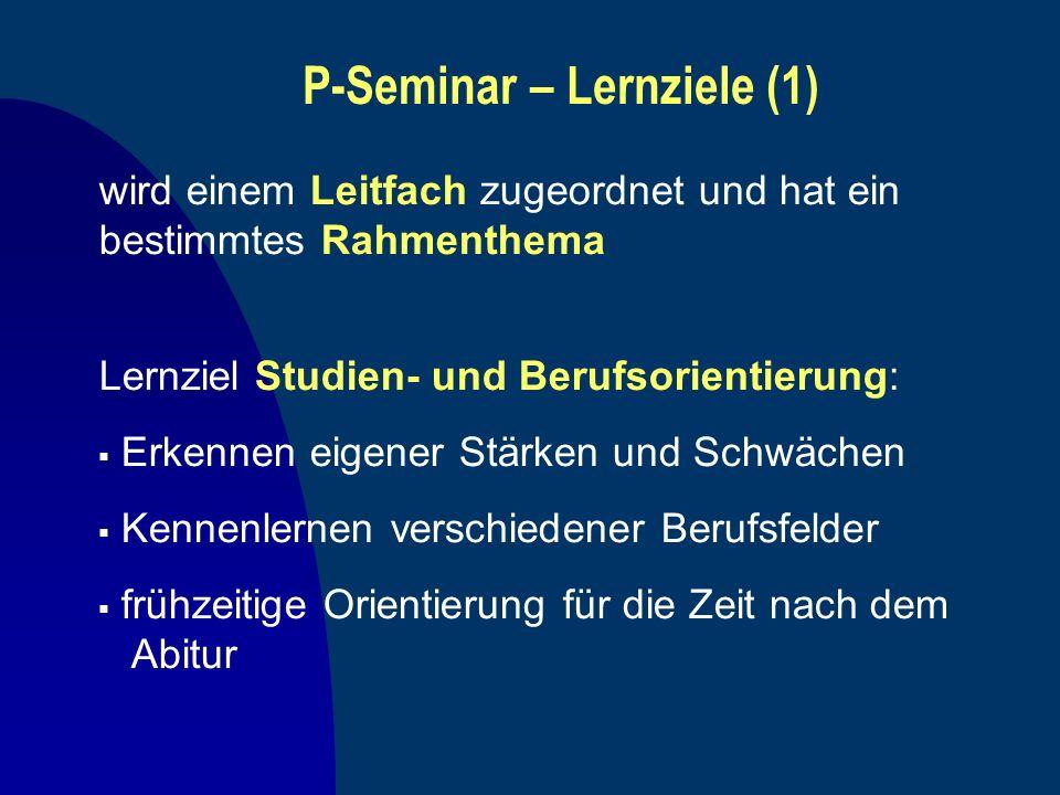 P-Seminar – Lernziele (1) Lernziel Studien- und Berufsorientierung: Erkennen eigener Stärken und Schwächen Kennenlernen verschiedener Berufsfelder frü