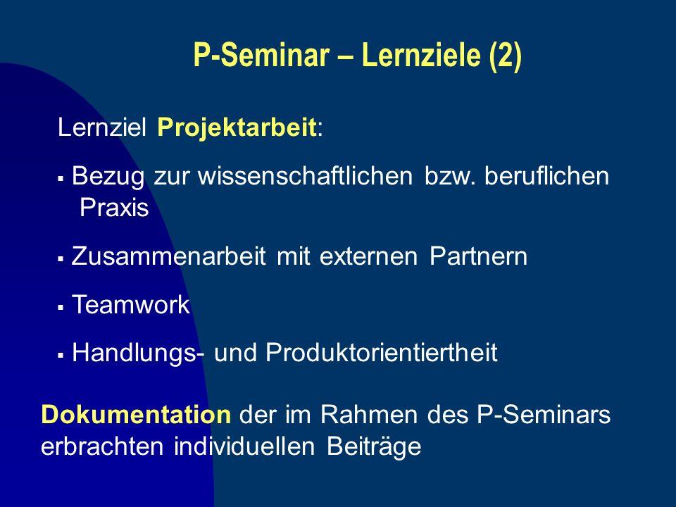 P-Seminar – Lernziele (2) Lernziel Projektarbeit: Bezug zur wissenschaftlichen bzw. beruflichen Praxis Zusammenarbeit mit externen Partnern Teamwork H