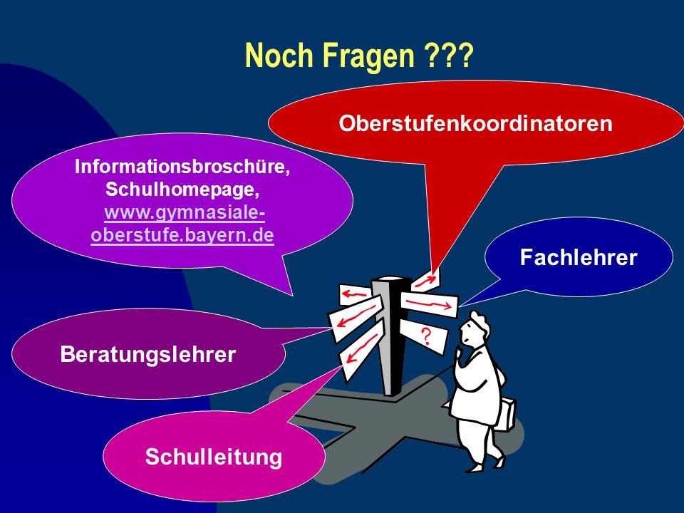 Noch Fragen ??? Informationsbroschüre, Schulhomepage, www.gymnasiale- oberstufe.bayern.dewww.gymnasiale- oberstufe.bayern.de Oberstufenkoordinatoren S