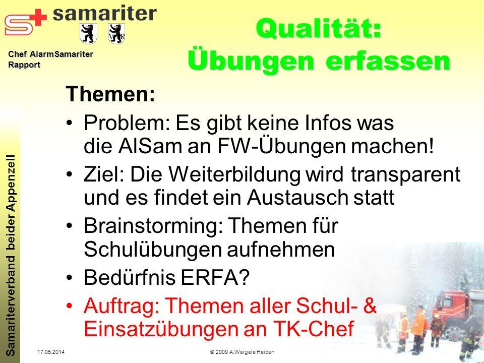 Chef AlarmSamariter Rapport Samariterverband beider Appenzell 17.05.2014© 2009 A.Weigele Heiden Qualität: Übungen erfassen Themen: Problem: Es gibt ke