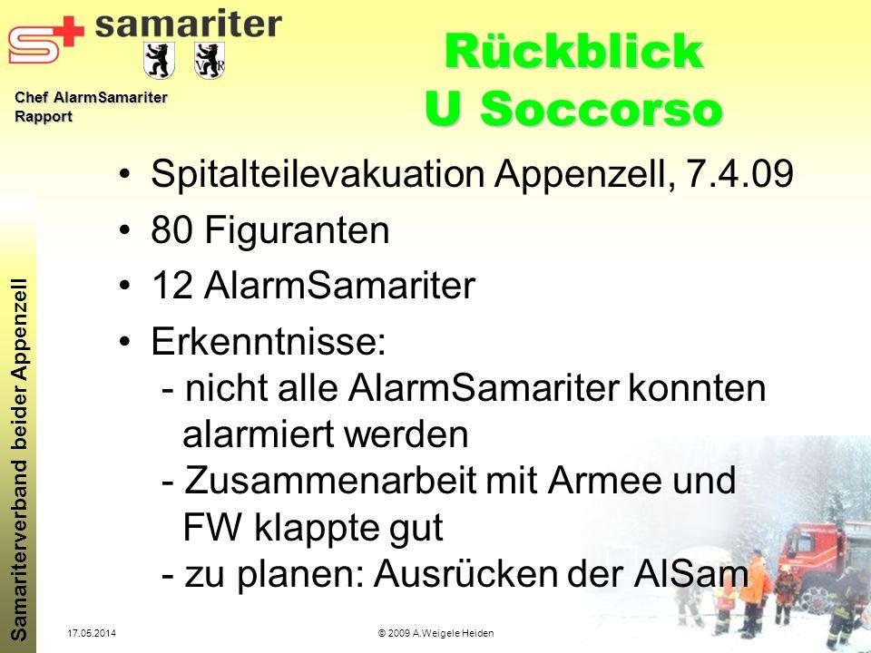 Chef AlarmSamariter Rapport Samariterverband beider Appenzell 17.05.2014© 2009 A.Weigele Heiden Rückblick U Soccorso Spitalteilevakuation Appenzell, 7
