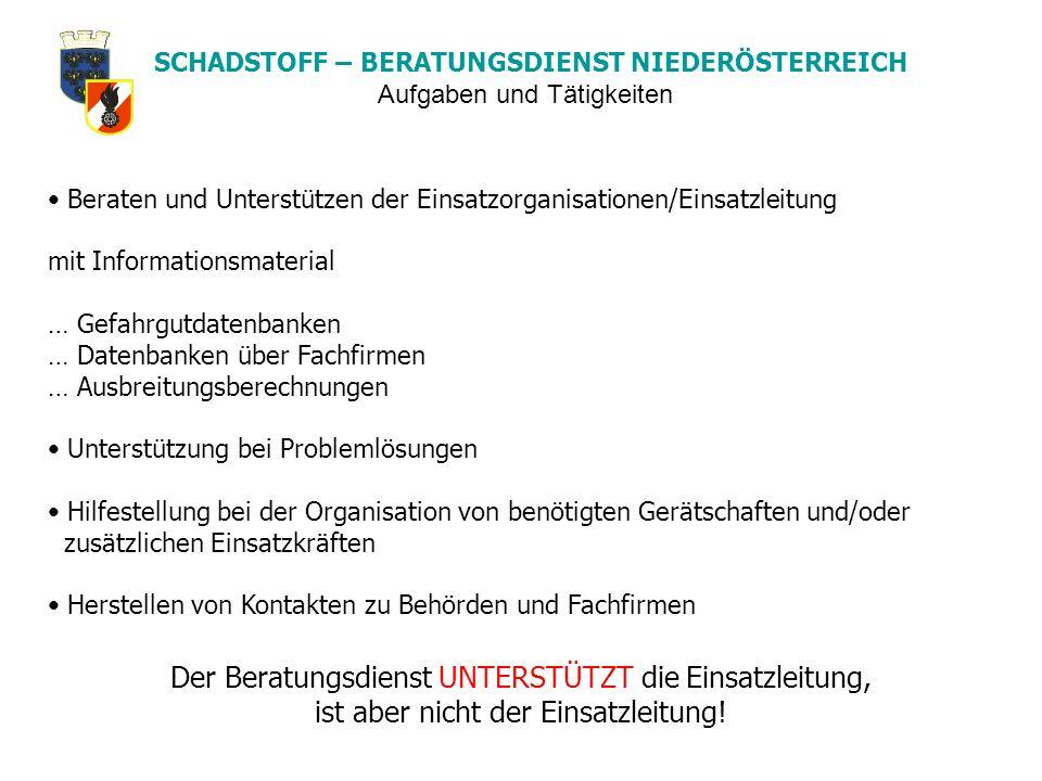 SCHADSTOFF – BERATUNGSDIENST NIEDERÖSTERREICH Beraten und Unterstützen der Einsatzorganisationen/Einsatzleitung mit Informationsmaterial … Gefahrgutda