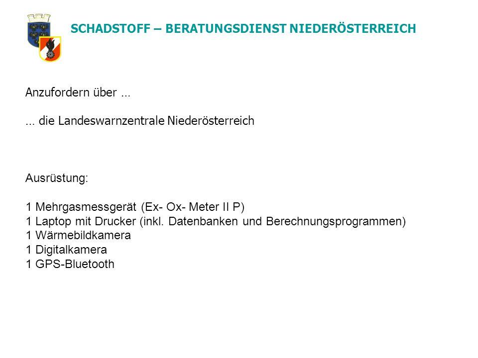 SCHADSTOFF – BERATUNGSDIENST NIEDERÖSTERREICH Anzufordern über … … die Landeswarnzentrale Niederösterreich Ausrüstung: 1 Mehrgasmessgerät (Ex- Ox- Met