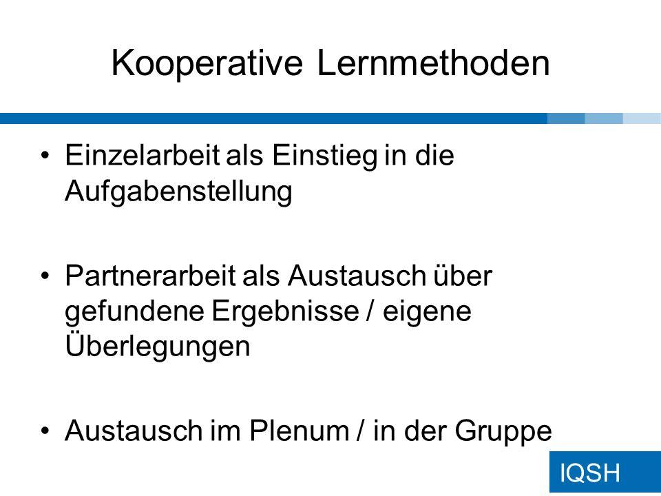 IQSH Kooperative Lernmethoden
