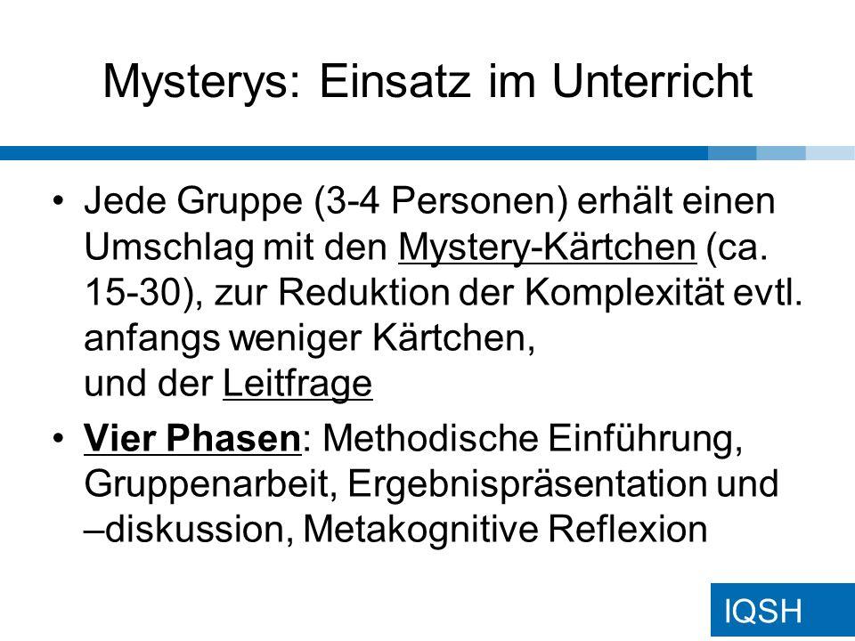 IQSH Mystery: Leistungsüberprüfung Abschließend kann evtl.