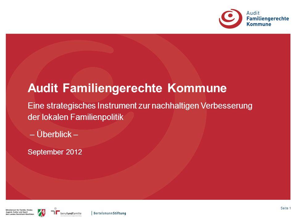 Seite 1 Audit Familiengerechte Kommune Eine strategisches Instrument zur nachhaltigen Verbesserung der lokalen Familienpolitik – Überblick – September