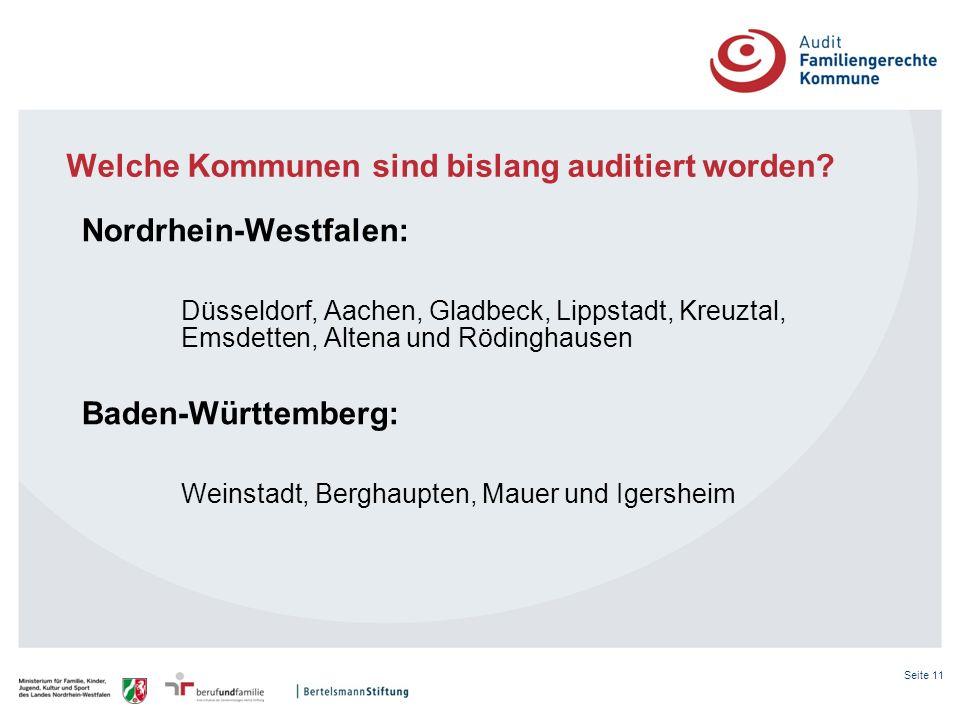 Seite 11 Welche Kommunen sind bislang auditiert worden? Nordrhein-Westfalen: Düsseldorf, Aachen, Gladbeck, Lippstadt, Kreuztal, Emsdetten, Altena und
