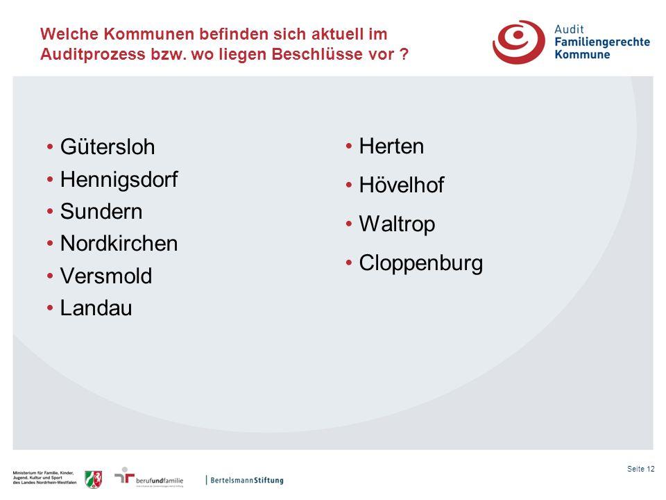 Seite 12 Welche Kommunen befinden sich aktuell im Auditprozess bzw. wo liegen Beschlüsse vor ? Gütersloh Hennigsdorf Sundern Nordkirchen Versmold Land