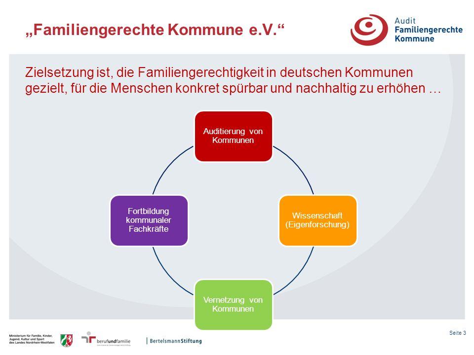 Seite 3 Familiengerechte Kommune e.V. Zielsetzung ist, die Familiengerechtigkeit in deutschen Kommunen gezielt, für die Menschen konkret spürbar und n