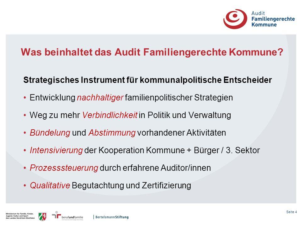 Seite 4 Was beinhaltet das Audit Familiengerechte Kommune? Strategisches Instrument für kommunalpolitische Entscheider Entwicklung nachhaltiger famili