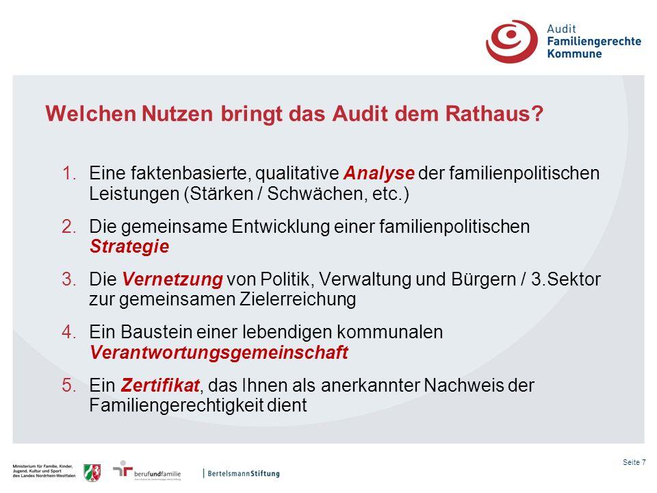 Seite 7 Welchen Nutzen bringt das Audit dem Rathaus? 1.Eine faktenbasierte, qualitative Analyse der familienpolitischen Leistungen (Stärken / Schwäche