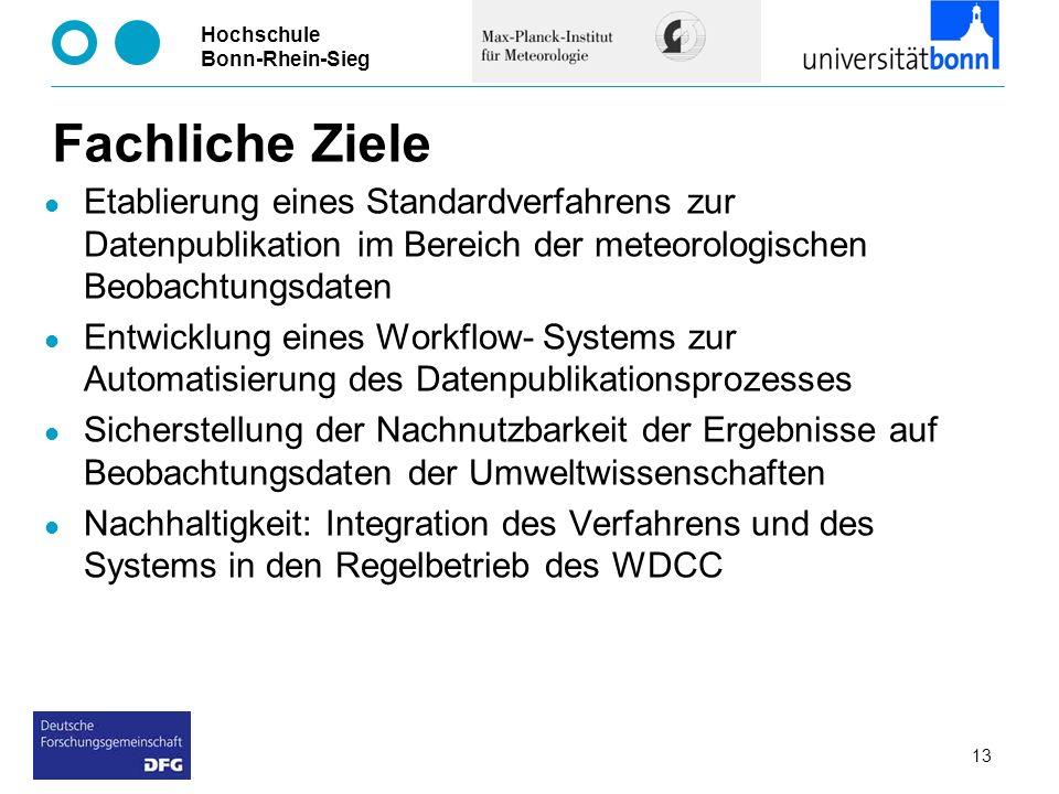 Hochschule Bonn-Rhein-Sieg Fachliche Ziele Etablierung eines Standardverfahrens zur Datenpublikation im Bereich der meteorologischen Beobachtungsdaten